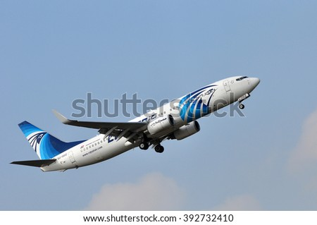 FRANKFURT,GERMANY-MARCH 10:airplane of EgyptAir above the Frankfurt airport on March 10,2016 in Frankfurt,Germany.EgyptAir- national airline of Egypt based in Cairo and based on the Cairo airport.