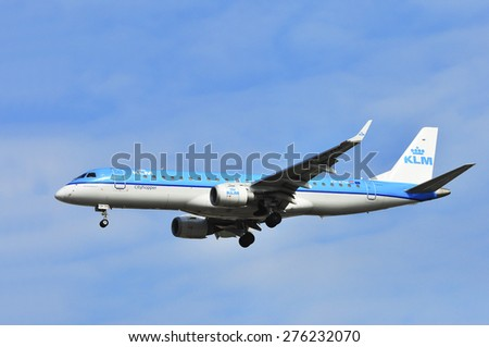 FRANKFURT,GERMANY-MARCH 28:airplane of KLM on March 28,2015 in Frankfurt,Germany.