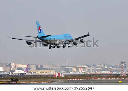 FRANKFURT,GERMANY-MARCH 10:airplane of KOREAN AIR CARGO on March 10,2016 in Frankfurt,Germany.Korean Air is the largest airline in South Korea,located in Seoul.