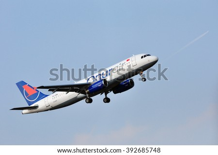 FRANKFURT,GERMANY-MARCH 10:airplane of Onur Air above the Frankfurt airport on March 10,2016 in Frankfurt,Germany.Onur Air is an airline with its headquarters in Istanbul, Turkey.