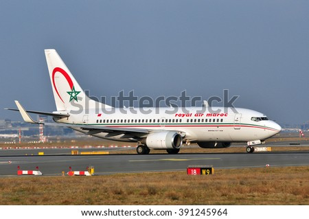 FRANKFURT,GERMANY-MARCH 10:airplane of Royal Air Maroc in the Frankfurt airport on March 10,2016 in Frankfurt,Germany.Royal Air Maroc is the Moroccan national carrier and largest airline.
