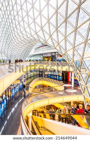 FRANKFURT, GERMANY - MARCH 1, 2014: Architectural features of the MyZeil shopping mall in Frankfurt. The famous shopping center has a modern design and the longest escalator in Germany. - stock photo
