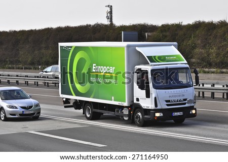 FRANKFURT,GERMANY-MARCH 26:IVECO truck of Europcar on the highway on March 26,2015 in Frankfurt,Germany.IVECO is an Italian industrial vehicle manufacturing company based in Turin, Italy - stock photo