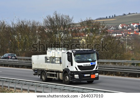FRANKFURT,GERMANY-MARCH 26:IVECO truck on the highway on March 26,2015 in Frankfurt,Germany.IVECO is an Italian industrial vehicle manufacturing company based in Turin, Italy - stock photo