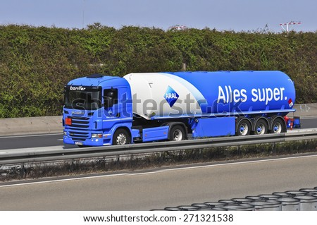FRANKFURT,GERMANY- MARCH 28:oil truck of Aral on the highway on March28,2015 in Frankfurt,Germany.Aral is a brand of automobile fuels and gas stations, present in Germany and Luxembourg.