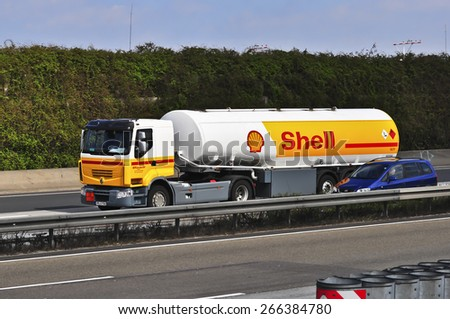 FRANKFURT,GERMANY - MARCH 28:Shell Oil Truck on the highway on March 28,2015 in Frankfurt, Germany.Royal Dutch Shell plc, commonly known as Shell, is an Anglo�Dutch multinational oil and gas company.