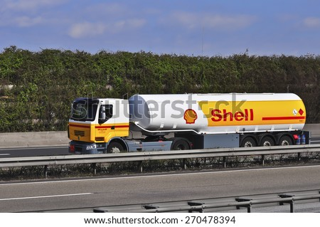 FRANKFURT,GERMANY - MARCH 28:Shell Oil Truck on the highway on March 28,2015 in Frankfurt, Germany.Royal Dutch Shell plc, commonly known as Shell, is an Anglo-Dutch multinational oil and gas company - stock photo