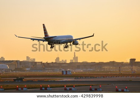 FRANKFURT,GERMANY-MAY 05:Airbus A330 of American Airlines in the morning sun above Frankfurt airport on May 05,2016 in Frankfurt,Germany.American Airlines headquartered in Fort Worth, Texas.