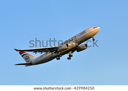 FRANKFURT,GERMANY-MAY 05:Airbus A330 of Etihad Airways above the Frankfurt airport on May 05,2016 in Frankfurt,Germany.Etihad Airways is a flag carrier of the United Arab Emirates, in Abu Dhabi. - stock photo