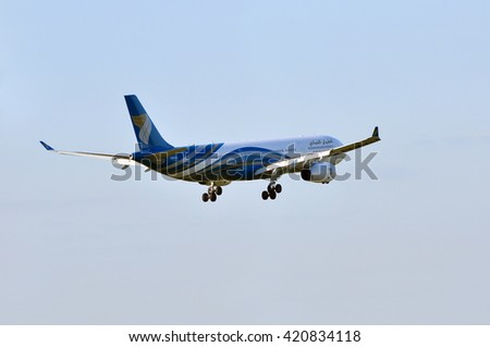FRANKFURT,GERMANY-MAY 05:Airbus A330 of OMAN AIR above the Frankfurt airport on May 05,2015 in Frankfurt,Germany.Oman Air is the national airline of Oman, based in Seeb, Muscat.