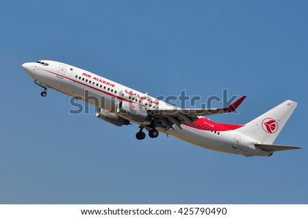 FRANKFURT,GERMANY-MAY 13:airplane of AIR ALGERIE above the Frankfurt airport on May 13,2015 in Frankfurt,Germany.Air Alg�©rie SpA is the national airline of Algeria.