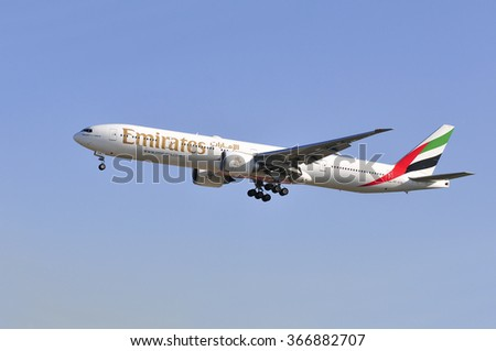 FRANKFURT,GERMANY-MAY 13:airplane of EMIRATES AIRLINES above the Frankfurt airport on May 13,2015 in Frankfurt,Germany.Emirates is an airline of the United Arab Emirates, based in Dubai.