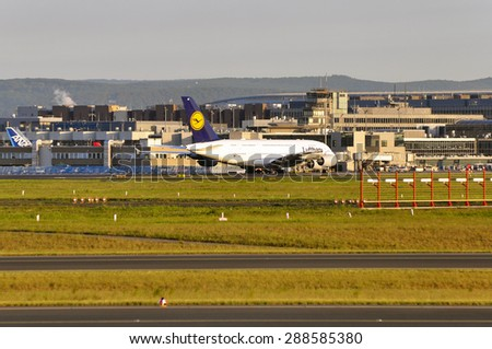 FRANKFURT,GERMANY-MAY 13:airplane of Lufthansa in the Frankfurt airport on May 13,2015 in Frankfurt,Germany