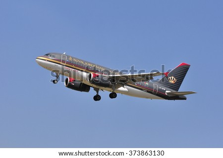 FRANKFURT,GERMANY-MAY 13:airplane of Royal Jordanian Airlines above Frankfurt airport on May 13,2015 in Frankfurt,Germany.Royal Jordanian Airlines is the flag carrier airline of Jordan in Amman.