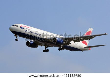 FRANKFURT,GERMANY-MAY 26:British Airways aircraft over the Frankfurt airport on May 26,2016 in Frankfurt,Germany.British Airways is the flag carrier airline of the United Kingdom.