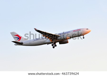 FRANKFURT,GERMANY-MAY 05: China Eastern Airlines Airbus A330 above Frankfurt airport on May 05,2016 in Frankfurt,Germany.China Eastern Airlines is in Shanghai, China.
