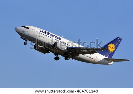 FRANKFURT,GERMANY-MAY 13: LUFTHANSA aircraft aproaching airport  on May 13,2015 in Frankfurt,Germany.Lufthansa is a German airline and also the largest airline in Europe.