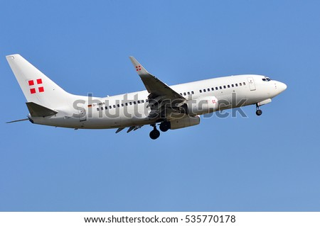 FRANKFURT,GERMANY-MAY 05: PrivatAir Germany Boeing 737 approaching Frankfurt airport on May 05,2016 in Frankfurt,Germany.