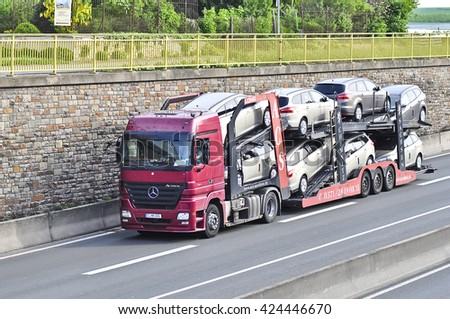 FRANKFURT,GERMANY - MAY 11: truck on the highway on May 112015 in Frankfurt, Germany.