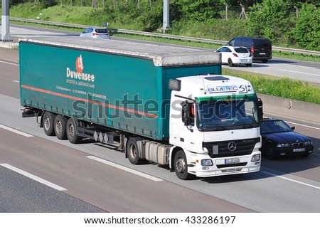 FRANKFURT,GERMANY - MAY 26: truck on the highway on May 26,2015 in Frankfurt, Germany.