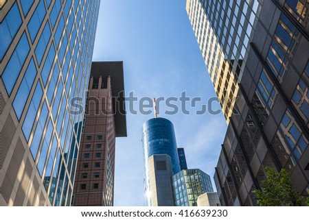 FRANKFURT, GERMANY - MAY 6, 2016: View of Frankfurt am Main skyline from downtown with skyscrapers and blue sky - stock photo