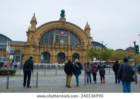 FRANKFURT, GERMANY, NOVEMBER 14, 2014: View of the beautiful building of the main train station in frankfurt.