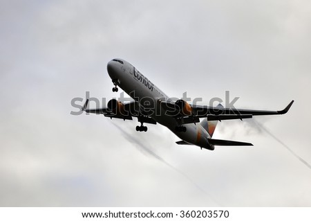 FRANKFURT,GERMANY-OCT 08:airplane of Condor airlines above the Frankfurt airport on October 08,2015 in Frankfurt,Germany.Condor is a German leisure airline based in Frankfurt.