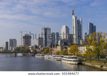 FRANKFURT,GERMANY-Oct 27, 2016 :Frankfurt's Skyline by Main River on Oct 27, 2016 in Frankfurt,Germany. Frankfurt is the financial center of Germany.