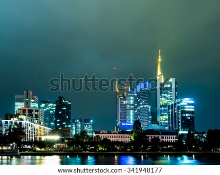 FRANKFURT, GERMANY - OCT 8: Nightscape of Frankfurt, Germany on October 8, 2013. Frankfurt am Main is the largest city in the German state of Hessen.