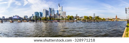 FRANKFURT, GERMANY - OCT 3, 2015: one million people celebrate the 25th day of German unity at river main in Frankfurt, Germany.