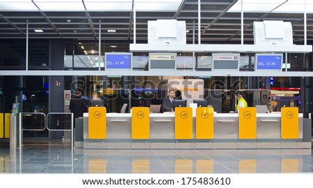 FRANKFURT, GERMANY - OCTOBER 12: departure gates at Frankfurt International Airport on October 12, 2013 in Frankfurt, Germany. Frankfurt was the world's 11th busiest airport in 2012 with 57.5m pax.