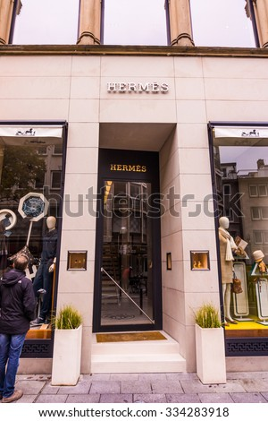 FRANKFURT GERMANY - OCTOBER 24, 2015: Hermes shop at Frankfurt,Germany - Hermes is a French manufacturer established in 1837 specialising in leather, accessories perfumery and luxury goods