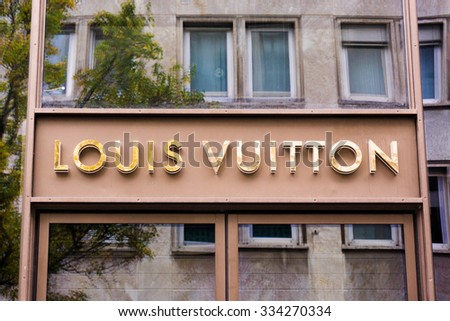 FRANKFURT,GERMANY -OCTOBER 24:Louis Vuitton store on October 24,2015 in Frankfurt,Germany.Forbes says that Louis Vouitton was the most powerful luxury brand in the world in 2008 with $19.4bn USD value - stock photo