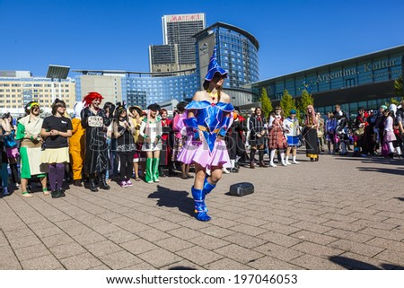 FRANKFURT, GERMANY - OCTOBER 10, 2010: Public day at Frankfurt international Book Fair, colorful people made up as Manga from the Comic scene with costumes have a big party  in Frankfurt, Germany.