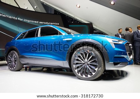 FRANKFURT, GERMANY - SEP 16, 2015: Audi e-tron Quattro car at the IAA 2015.