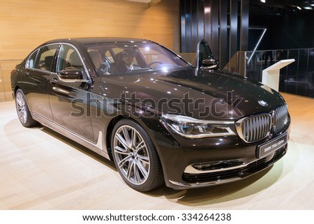 FRANKFURT, GERMANY - SEP 16, 2015: BMW 750Li xDrive High Executive shown at the IAA 2015. - stock photo
