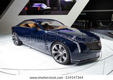FRANKFURT, GERMANY - SEP 13: Cadillac Elmiraj at the IAA motor show on Sep 13, 2013 in Frankfurt. More than 1.000 exhibitors from 35 countries are present at the world's largest motor show. - stock photo