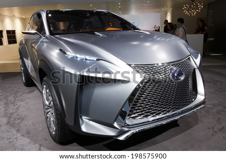 FRANKFURT, GERMANY - SEP 20: Lexus LF-NX concept car at the IAA motor show on Sep 20, 2013 in Frankfurt. More than 1.000 exhibitors from 35 countries are present at the world's largest motor show.  - stock photo
