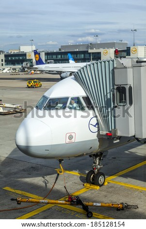 FRANKFURT, GERMANY - SEP 20: Lufthansa Aircrafts standing at the terminal 1 at Frankfurt airport on September 20, 2012. It`s a one of the busiest airport in Europe.