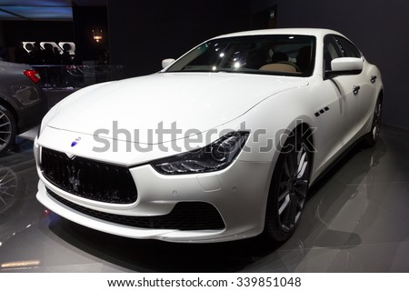 FRANKFURT, GERMANY - SEP 16, 2015: Maserati Ghibli shown at the IAA 2015.