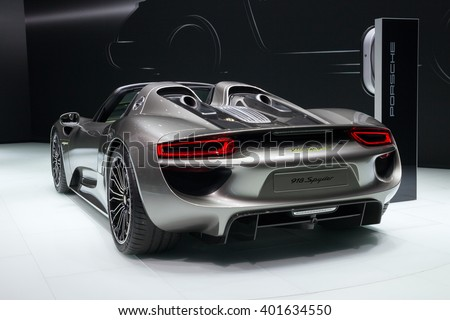 FRANKFURT, GERMANY - SEP 13, 2013: New Porsche 918 Spyder presented at the IAA 2013. - stock photo