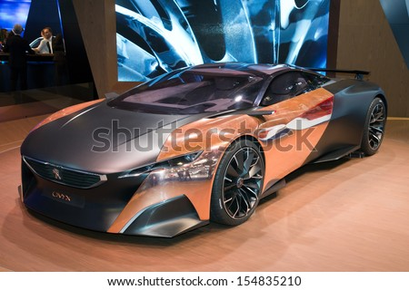 FRANKFURT, GERMANY - SEP 13: Peugeot Onyx at the IAA motor show on Sep 13, 2013 in Frankfurt. More than 1.000 exhibitors from 35 countries are present at the world's largest motor show. - stock photo