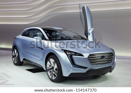 FRANKFURT, GERMANY - SEP 13: Subaru concept car Viziv at the IAA motor show on Sep 13, 2013 in Frankfurt. More than 1.000 exhibitors from 35 countries are present at the world's largest motor show.