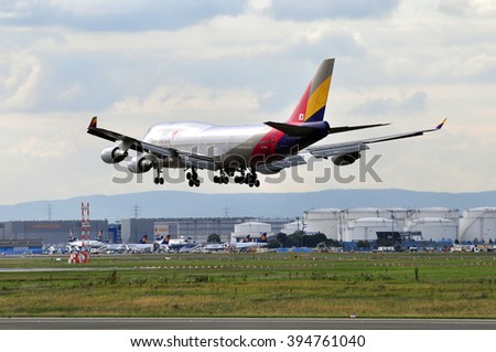 FRANKFURT,GERMANY-SEPT 24:airplane of Asiana Airlines above the Frankfurt airport on September 24,2015 in Frankfurt,Germany.Asiana Airlines is one of South Korea's two major airlines.