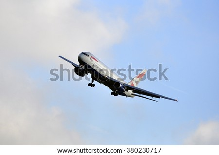 FRANKFURT,GERMANY-SEPT 24:airplane of British Airways above the Frankfurt airport on September 24,2015 in Frankfurt,Germany.British Airways is the flag carrier airline of the United Kingdom.