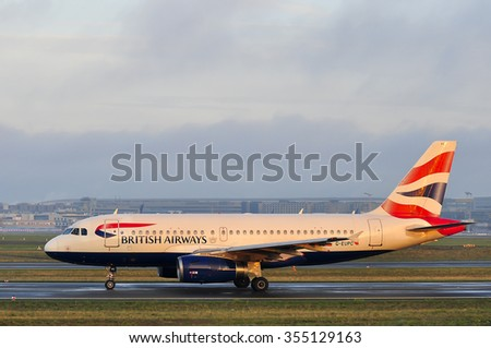 FRANKFURT,GERMANY-SEPT 24:airplane of British Airways in the Frankfurt airport on September 24,2015 in Frankfurt,Germany.British Airways is the flag carrier airline of the United Kingdom.