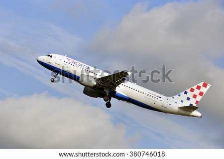 FRANKFURT,GERMANY-SEPT 24:airplane of Croatia Airlines above the Frankfurt airport on September 24,2015 in Frankfurt,Germany.Croatia Airlines Ltd. is the state-owned flag carrier of Croatia.
