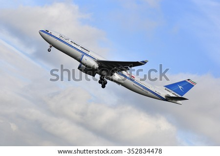 FRANKFURT,GERMANY-SEPT 24:airplane of Kuwait Airways above the Frankfurt airport on September 24,2015 in Frankfurt,Germany.Kuwait Airways is the national airline of Kuwait.