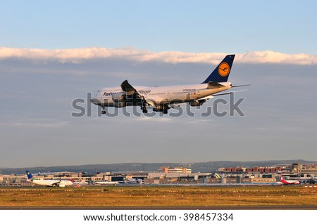FRANKFURT,GERMANY-SEPT 04:airplane of Lufthansa above the Frankfurt airport on September 04,2015 in Frankfurt,Germany.Lufthansa is a German airline and also the largest airline in Europe.