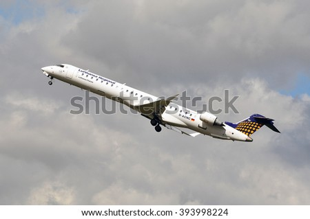 FRANKFURT,GERMANY-SEPT 24:airplane of Lufthansa CityLine on September 24,2015 in Frankfurt,Germany.Lufthansa CityLine GmbH is a German airline with its headquarters on the grounds of Munich Airport,